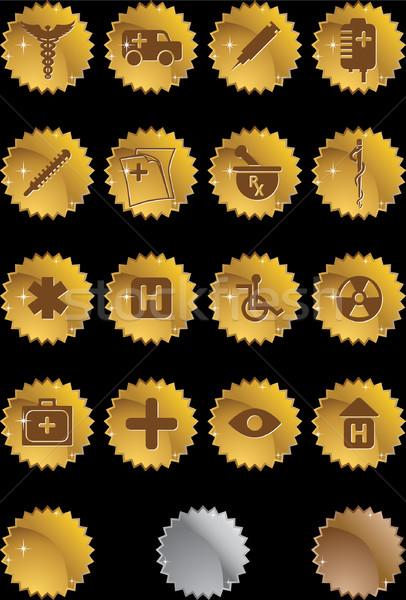 Orvosi ikon gyűjtemény szett ikonok fóka stílus Stock fotó © cteconsulting