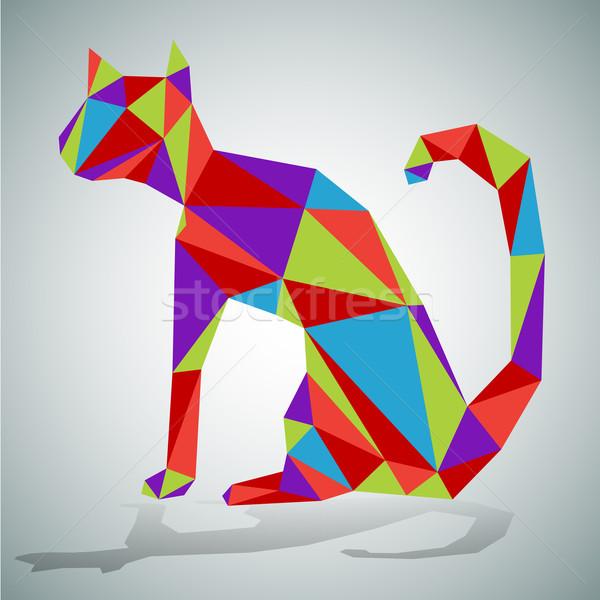 ポリゴン 座って 猫 画像 スタイル 動物 ストックフォト © cteconsulting