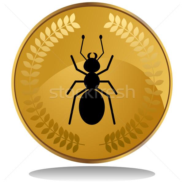 Gouden munt mier 3D afbeelding laurier krans Stockfoto © cteconsulting