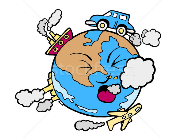 Global Poluicao Desenho Animado Imagem Mundo Terra