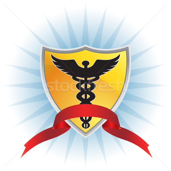 Caduceus Medical Symbol - Shield with Ribbon Stock photo © cteconsulting
