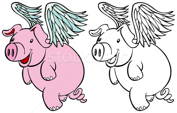 Flying Pig Set Stock photo © cteconsulting