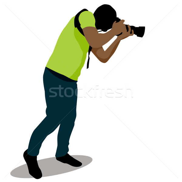 Paparazzi photo image silhouette Homme Photo stock © cteconsulting