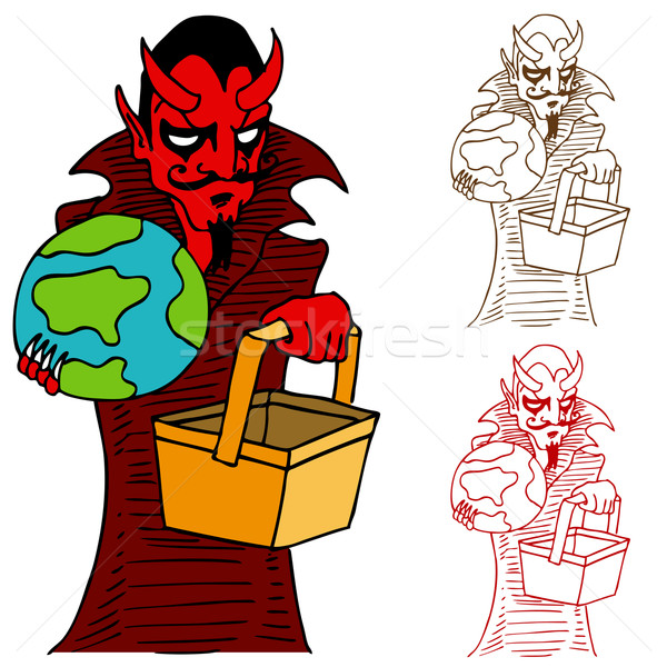 Devil Taking World to Hell in a Handbasket Stock photo © cteconsulting