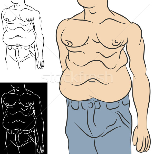 Homme abdominale grasse image embonpoint estomac Photo stock © cteconsulting