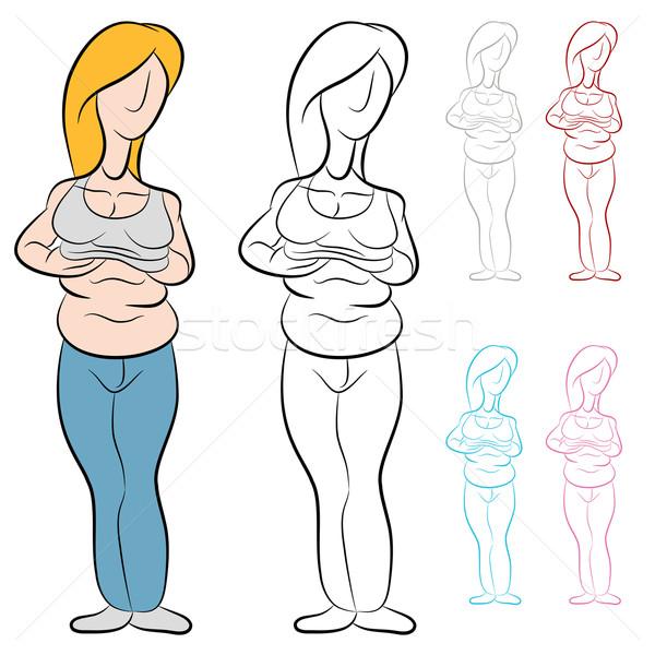 Túlsúlyos nő abdominális kövér kép fekete Stock fotó © cteconsulting