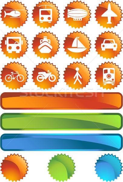 Transport przyciski etykiety zestaw 12 internetowych Zdjęcia stock © cteconsulting