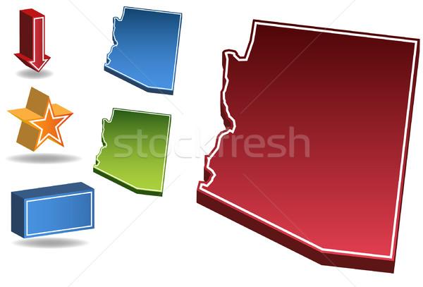 アリゾナ州 3D セット アイコン 地図 ストックフォト © cteconsulting