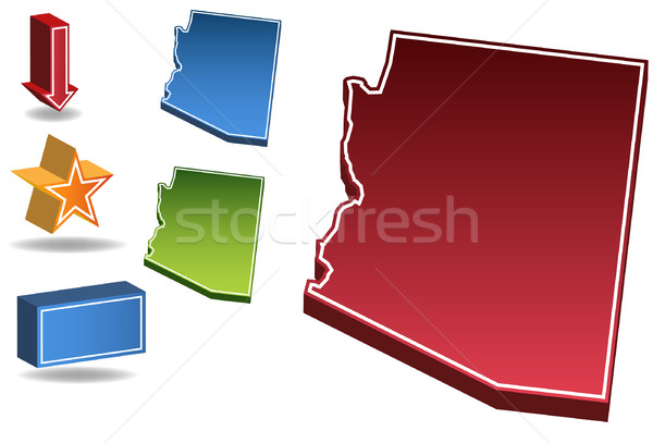 Arizona 3D conjunto ícones mapa Foto stock © cteconsulting