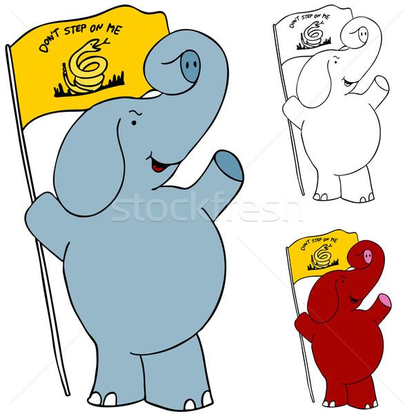 Tiltakozás zászló elefánt kép tea buli Stock fotó © cteconsulting