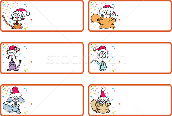 Jingle cat christmas gift tags vector illustration john takai add to lightbox download comp negle Image collections