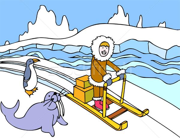 Eskimo Sled Ride Stock photo © cteconsulting