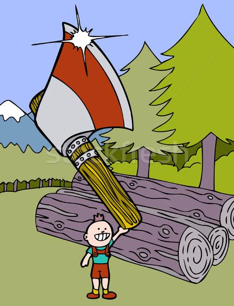 木こり 世界 木 芸術 漫画 ストックフォト © cteconsulting