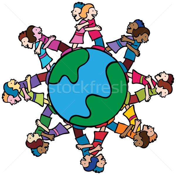 Globe with Surrounding Kids Hugging Stock photo © cteconsulting