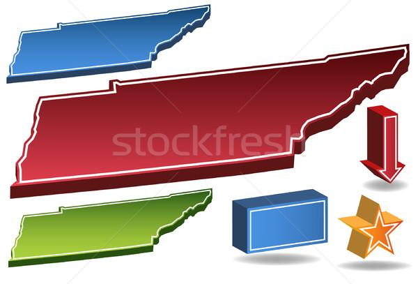 Tennessee 3D zestaw zdjęcia ikona Pokaż Zdjęcia stock © cteconsulting