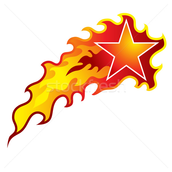 Fiammeggiante stella cadente immagine arancione star bianco Foto d'archivio © cteconsulting