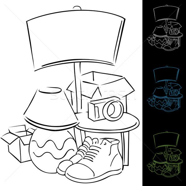 Foto stock: Venda · imagem · branco · desenho · animado · estilo · garagem