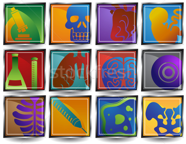 Biologie Set Symbole medizinischen Design Stock foto © cteconsulting
