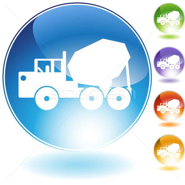 Stock photo: Cement Truck Crystal Icon