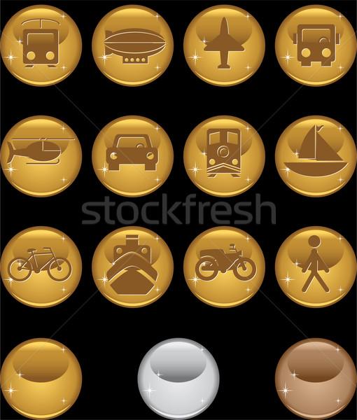 Zdjęcia stock: Transport · przyciski · złota · zestaw · 12 · internetowych