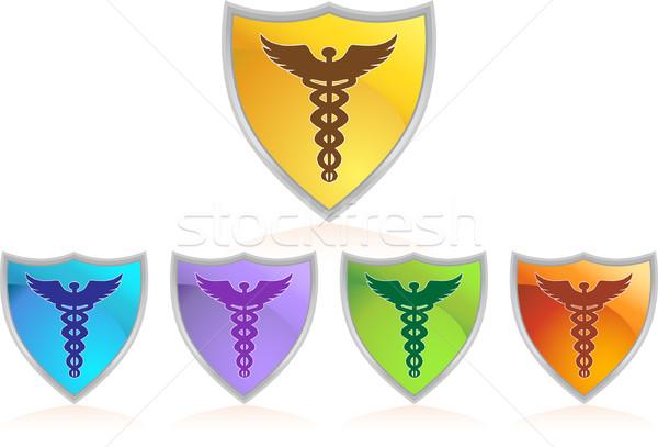 Caduceus Color Chrome Shield Set Stock photo © cteconsulting