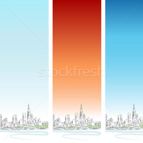 Сток-фото: Чикаго · вертикальный · баннер · набор · изображение · Cityscape
