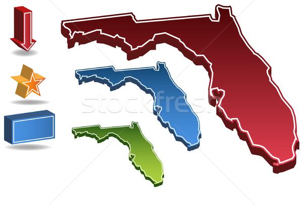 Florida 3D szett képek ikonok térkép Stock fotó © cteconsulting
