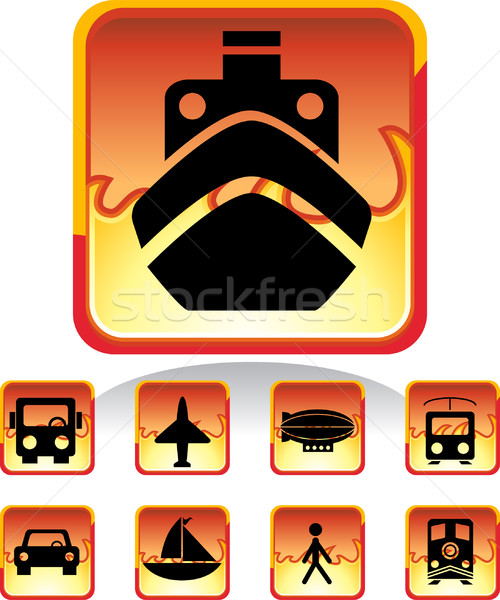 Stock photo: Transportation Buttons - Fire