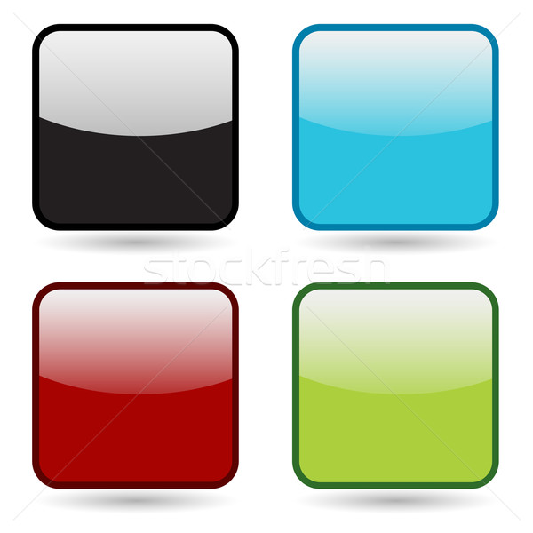 Rounded Square Button Icon Set Stock photo © cteconsulting