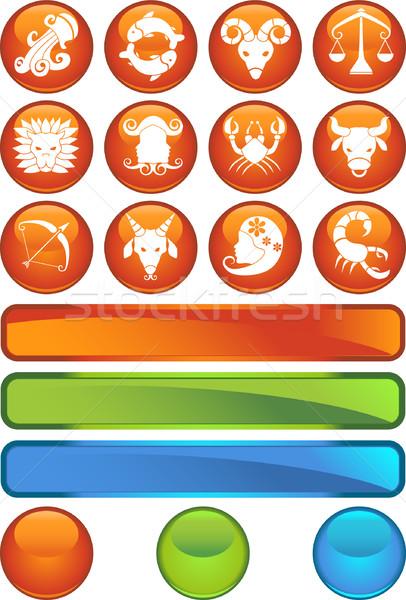 Zodíaco símbolos imagem 12 leão ovelha Foto stock © cteconsulting