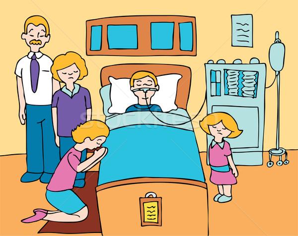 Ziek kind familie bidden genezing Stockfoto © cteconsulting