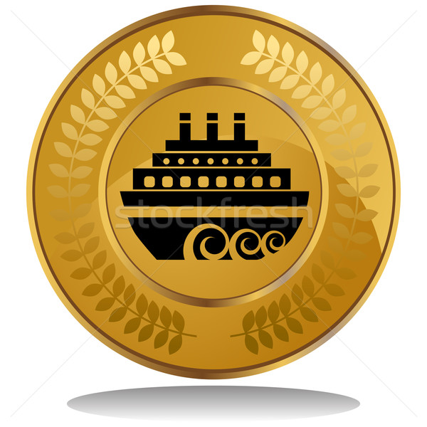 золотая монета 3D изображение лавры венок Сток-фото © cteconsulting
