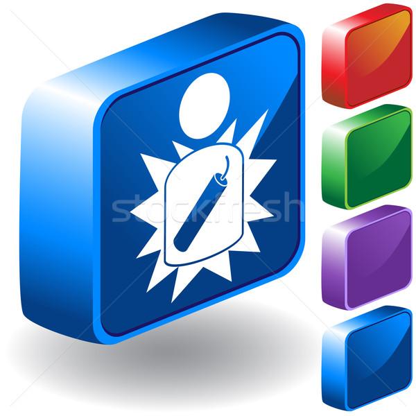 Terrorist icon 3D ingesteld knoppen tonen Stockfoto © cteconsulting