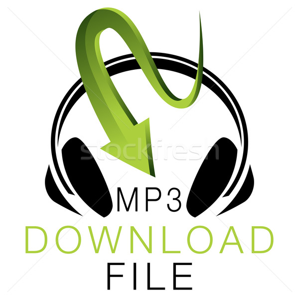 Mp3 Musik Download Icon Bild abstrakten Kopfhörer Stock foto © cteconsulting