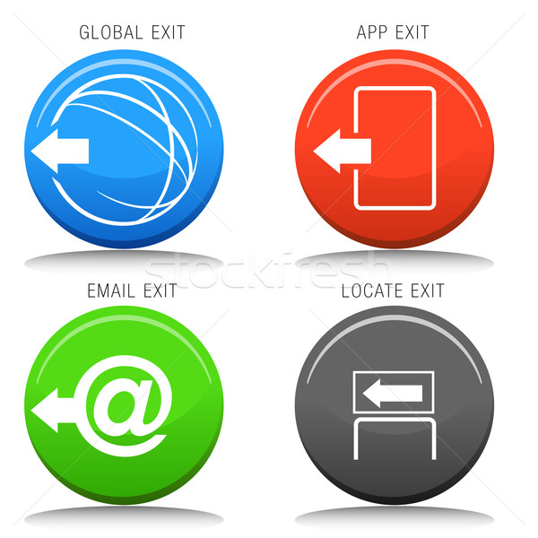 Exit Icon Set Stock photo © cteconsulting