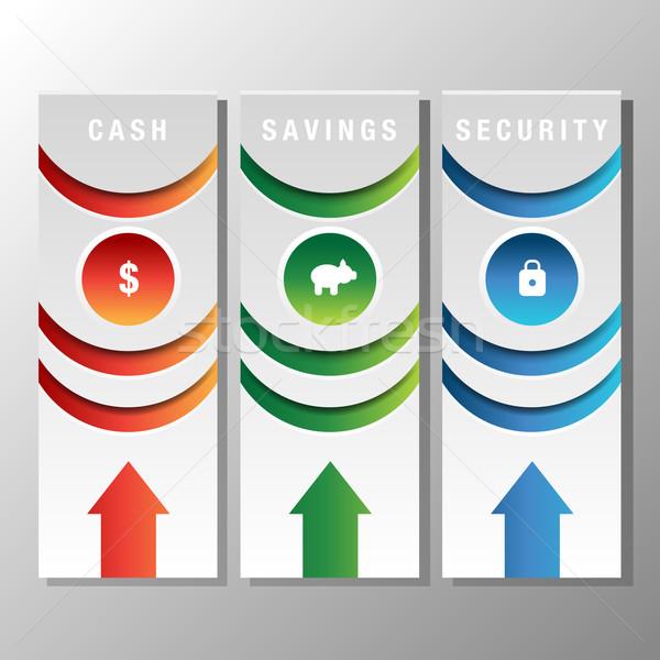 Pénzügyi könyvjelző ikon kép ikonok üzlet Stock fotó © cteconsulting