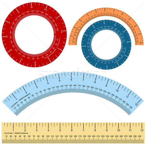 Millimeter Inches Ruler Shape Set Stock photo © cteconsulting