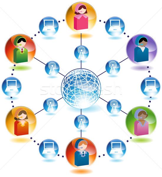 グローバルなビジネス 通信 ネットワーク ビジネス 周りに 3D ストックフォト © cteconsulting