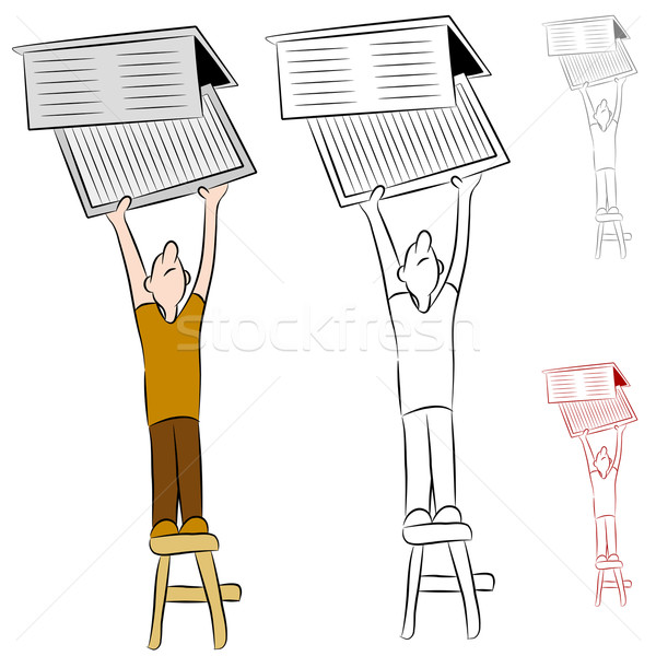Man Changing Home Heat and Cooling Air Filter Stock photo © cteconsulting