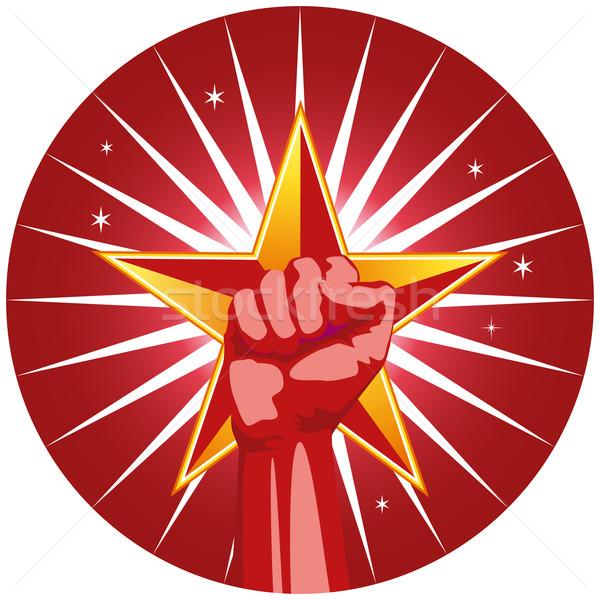 Vuist star symbool sterkte macht teamwerk Stockfoto © cteconsulting