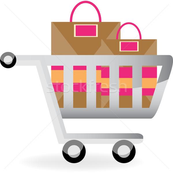 Carrinho de compras sacos ícone projeto compras Foto stock © cteconsulting