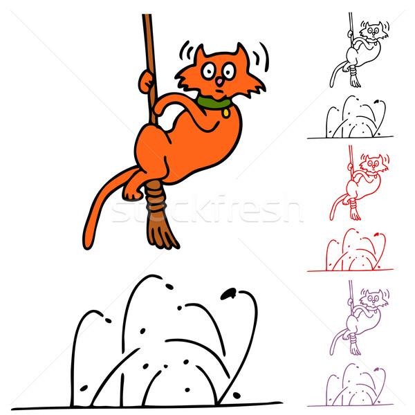 Kat aanval afbeelding zwarte witte cartoon Stockfoto © cteconsulting