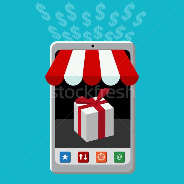 Detalicznej komórkowych zakup ikona obraz działalności Zdjęcia stock © cteconsulting