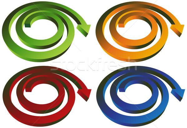 Сток-фото: изометрический · спиральных · стрелка · набор · Стрелки · зеленый