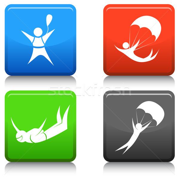 Skydiving afbeelding iconen groene Blauw Stockfoto © cteconsulting