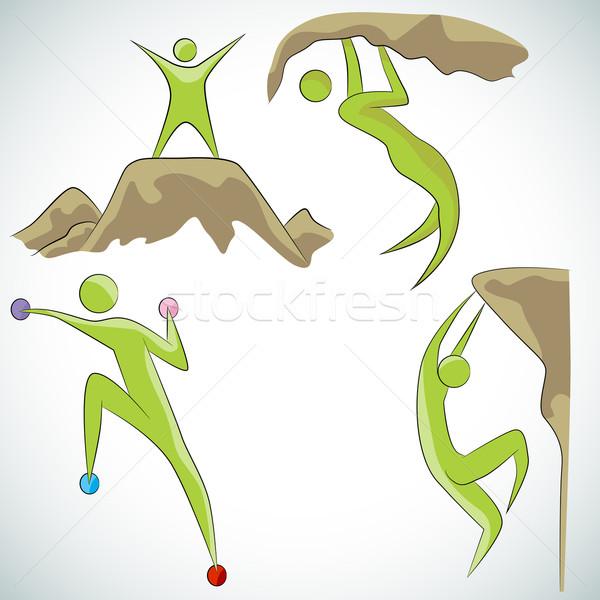 Rotsklimmen afbeelding sport grafische klimmen Stockfoto © cteconsulting
