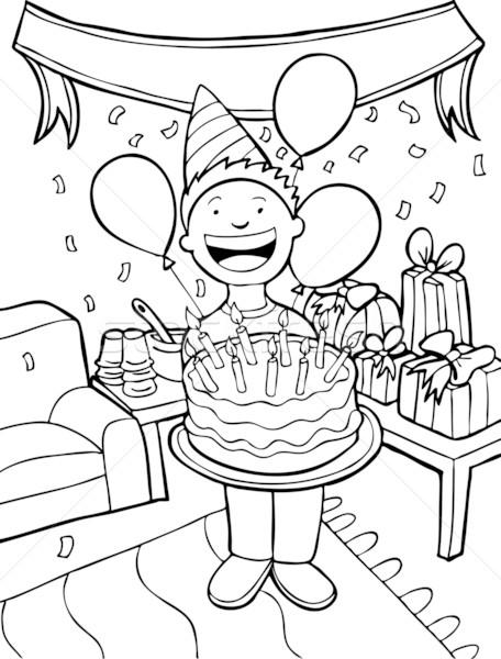 Tempo de festa preto e branco criança festa de aniversário livro feliz Foto stock © cteconsulting