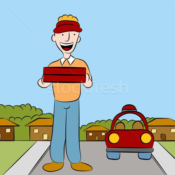 Pizza afbeelding man voedsel mobiele Stockfoto © cteconsulting