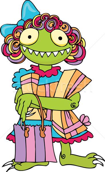 Winkelen monster leuk karakter meisje vrouwelijke Stockfoto © cteconsulting