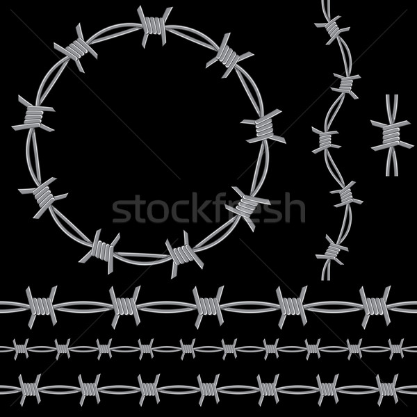 Barbed Wire Icon Set Stock photo © cteconsulting